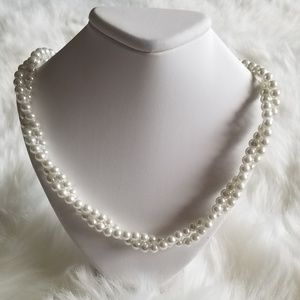 Faux Pearl Double Strand Twisted Necklace